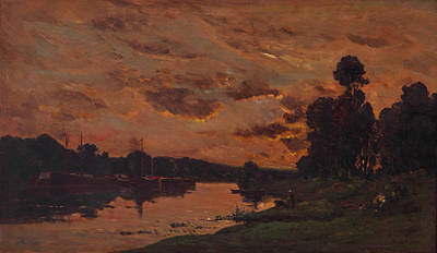View Painting - Afternoon by Charles-Francois Daubigny