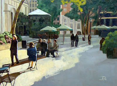 Afternoon In Bryant Park Print by Tate Hamilton