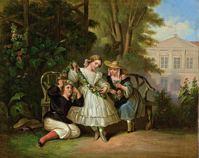 Louis Lang Painting - Afternoon In The Garden by Louis Lang
