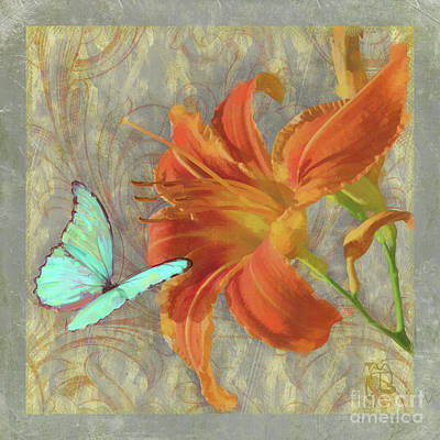 Afternoon In Tuscany II Orange Day Lily Aqua Butterfly Print by Tina Lavoie
