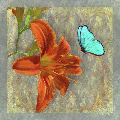 Afternoon In Tuscany, Orange Day Lily Floral Art Print by Tina Lavoie