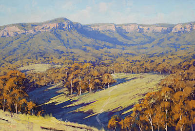 Gum Tree Painting - Afternoon Light Megalong Valle by Graham Gercken