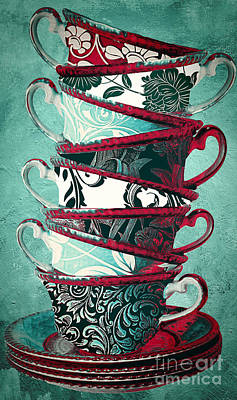 Stacked Painting - Afternoon Tea Aqua by Mindy Sommers