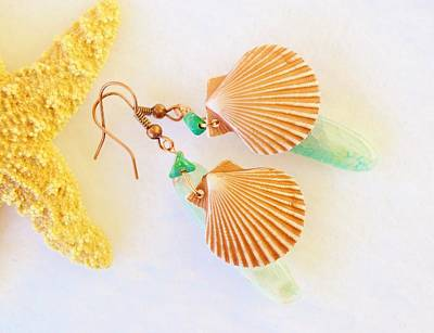 Agate And Seashell Earrings Original by Anne Foster