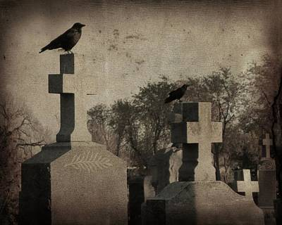 Ravens In Graveyard Photograph - Aged Graveyard Scene by Gothicrow Images