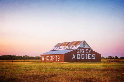 Aggie Barn Sunrise 2015 Textured Print by Joan Carroll