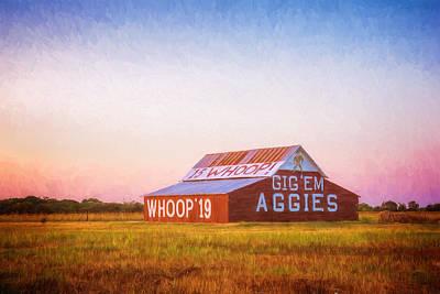 Aggie Barn Sunrise Painterly Print by Joan Carroll