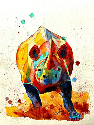 Drips Painting - Agitated Rhino by Dale Wesley Ziebarth