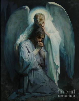 Angel Blues Painting - Agony In The Garden  by Celestial Images