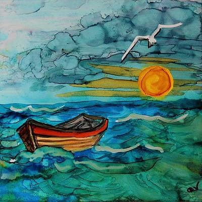 Adrift Painting - Adrift - A232 by Catherine Van Der Woerd