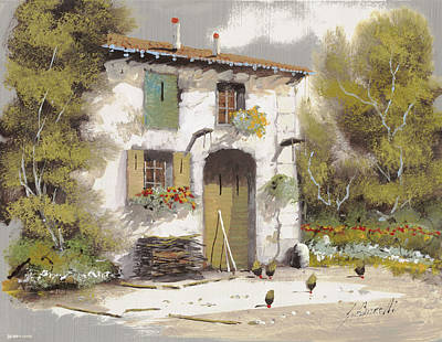 Chickens Painting - AIA by Guido Borelli