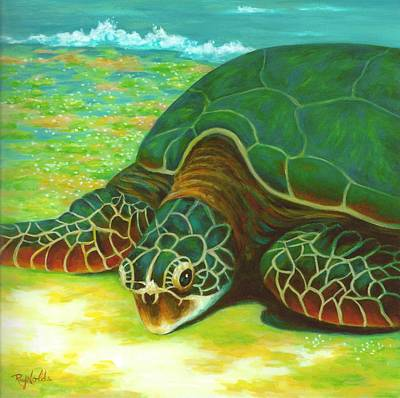 Green Sea Turtle Painting - Aint She Pretty by Carol Reynolds