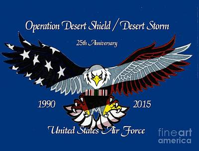 Storm Drawing - Air Force Desert Storm by Bill Richards