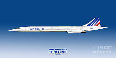 Airliners Drawing - Air France Concorde by Steve H Clark Photography