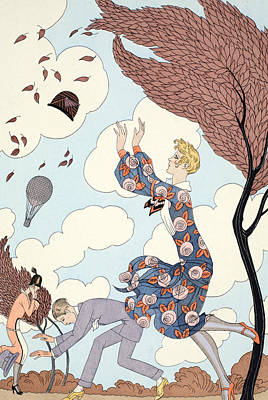 Beaux Arts Drawing - Air by Georges Barbier