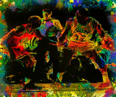 Magic Johnson Mixed Media - Air Jordan And Magic In The Paint by Brian Reaves