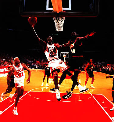 Patrick Ewing Painting - Air Jordan In Flight 3b by Brian Reaves