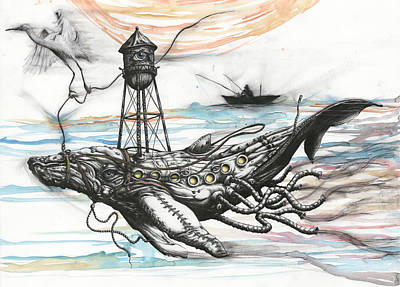 Crane Mixed Media - Air Support For Whale In Peril by Tai Taeoalii