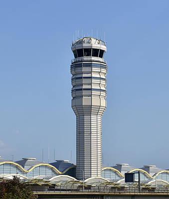 Traffic Control Photograph - Air Traffic Control Tower At Reagan National Airport by Brendan Reals