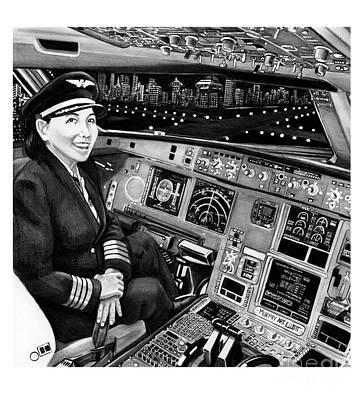 Cockpit Drawing - Airbus A320 Cockpit by Murphy Elliott
