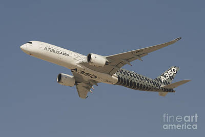 Airbus A350 At Dubai Air Show, Uae Print by Ivan Batinic