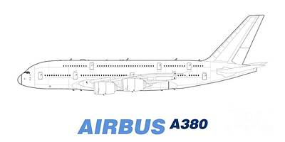 Airliners Drawing - Airbus A380 Line Drawing by Steve H Clark Photography