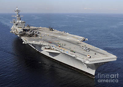 On The Runway Photograph - Aircraft Carrier Uss Carl Vinson by Stocktrek Images