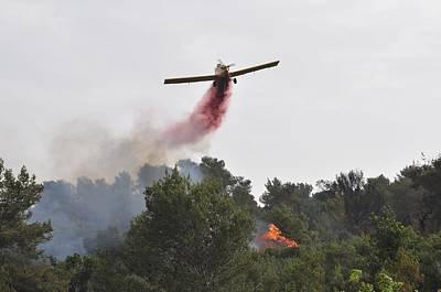 Burning Bush Photograph - Aircraft Drops Fire Retardant by Photostock-israel