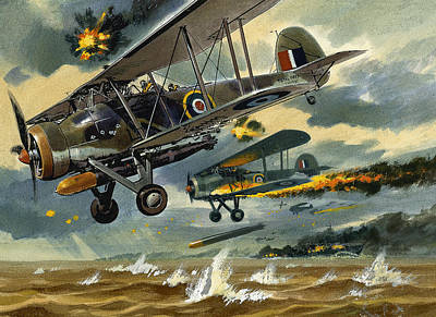 Spitfire Painting - Aircraft Under Fire by Wilf Hardy