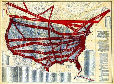 Airlines Drawing - Airline Mail Routes - 1919 by Pg Reproductions