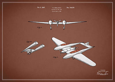 Airplane Photograph - Airplane Patent 1937 by Mark Rogan