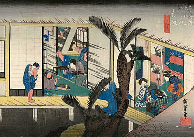 Oriental Painting - Akasaka, Inn With Serving Maids by Utagawa Hiroshige