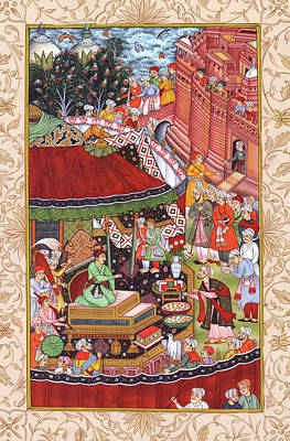 Handmade In Usa Painting - Akbarnama Painting Made By Mughal Empire, Indian Miniature Painting Watercolor Artwork. by A K Mundra