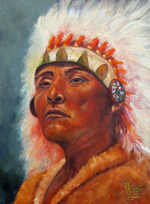 Native American Indian Portrait Akecheta Original by Sandra Cutrer