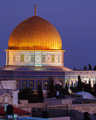 Medieval Temple Photograph - Al-aqsa Mosque At Night Jerusalem Israel by Rostislav Ageev