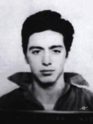 Al Pacino Mug Shot 1961 Black And Blueish  Original by Tony Rubino