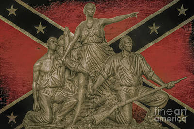 Alabama Monument Confederate Flag Print by Randy Steele