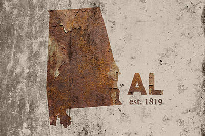 Alabama State Map Industrial Rusted Metal On Cement Wall With Founding Date Series 015 Print by Design Turnpike