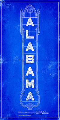 Architecture Digital Art - Alabama Theatre Marquee Blueprint by Mark E Tisdale