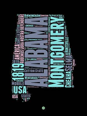 Alabama Print featuring the digital art Alabama Word Cloud 1 by Naxart Studio