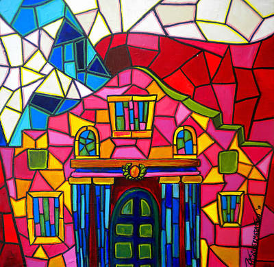 Historical Buildings Painting - Alamo Mosaic Two by Patti Schermerhorn