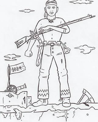 Solider Drawing - Alamo Sentry by Lester Noss