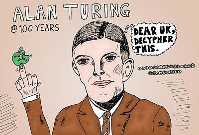 Alan Turing Caricature Original by Yasha Harari
