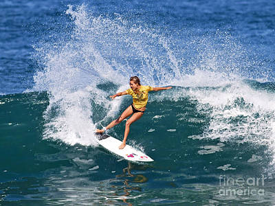 Alana Blanchard Surfing Hawaii Print by Paul Topp