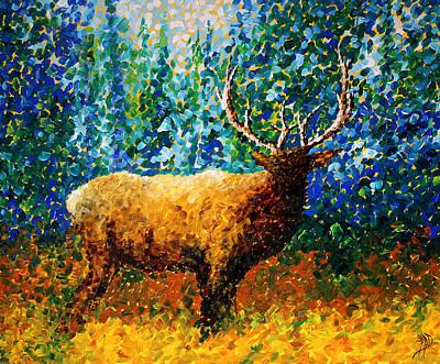 Alaskan Elk Original Madart Painting Print by Megan Duncanson