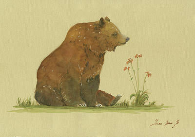 Brown Snake Painting - Alaskan Grizzly Bear by Juan Bosco