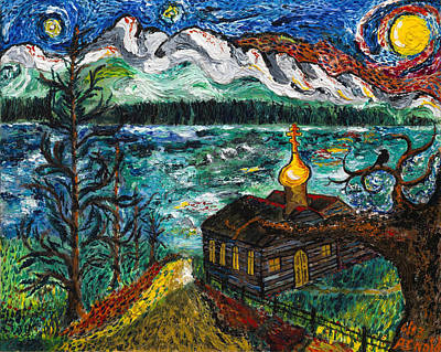 Impressionistic Landscape Painting - Alaskan Orthodox Church by Arnold Bernstein