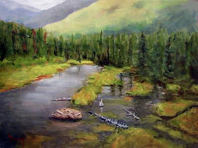 Beaver Painting - Alaskan Wilderness by Linda Hiller
