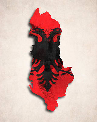 Tourism Digital Art - Albania Map Art With Flag Design by World Art Prints And Designs