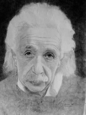 Einstein Drawing - Albert Einstein by Glenn Daniels